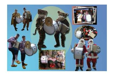 Het vrolijke accordeonduo H & M voelt zich overal thuis als er maar muziek gemaakt kan worden.